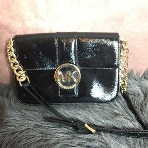 Black Leather Michael Kors Crossbody Handbag